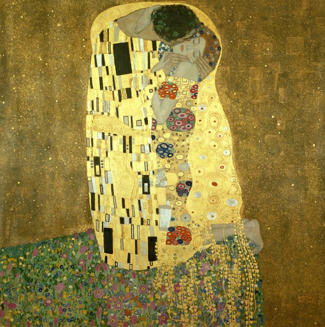 The Kiss ('Der Kuss'). Gustav Klimt (1862-1918). oil, silver and gold on canvas, 1907-1908. 180 cm x 189 cm.